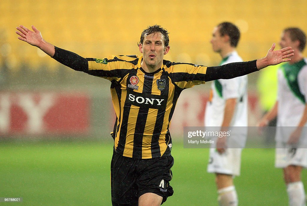 Jonathan McKain of the Phoenix celebrates his goal during the round 23 A-League match between the Wellington Phoenix and North Queensland Fury at Westpac Stadium on January 15, 2010 in Wellington, New Zealand.