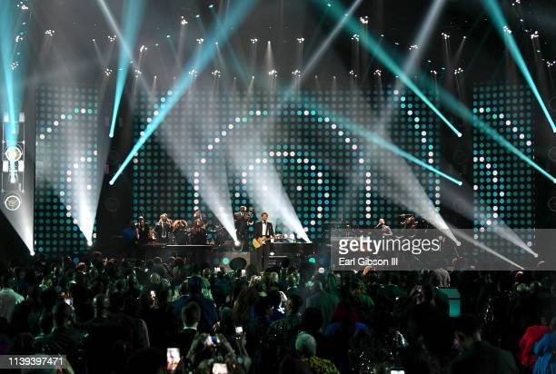 Jonathan McReynolds performs during the 34th annual Stellar Gospel Music Awards at the Orleans Arena on March 29 2019 in Las Vegas Nevada