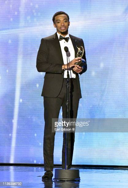 "Jonathan McReynolds, winner of the ""Artist of the Year"" award speaks during the 34th annual Stellar Gospel Music Awards at the Orleans Arena on March..."