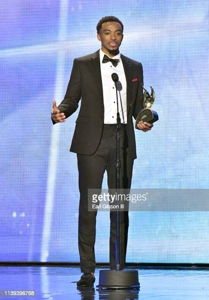 Jonathan McReynolds winner of the Artist of the Year award speaks during the 34th annual Stellar Gospel Music Awards at the Orleans Arena on March 29...