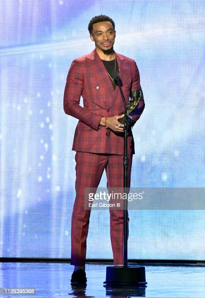 Jonathan McReynolds winner of the Male Vocalist of the Year award speaks during the 34th annual Stellar Gospel Music Awards at the Orleans Arena on...