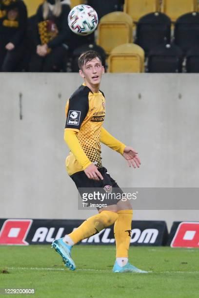 Jonathan Meier of SG Dynamo Dresden controls the ball during the 3 Liga match between Dynamo Dresden and FSV Zwickau at RudolfHarbigStadion on...