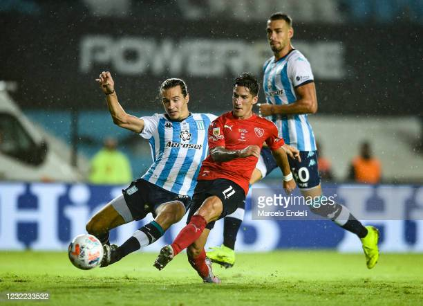 Jonathan Menendez of Independiente kicks the ball during a match between Racing Club and Independiente as part Copa de la Liga Profesional 2021 at...