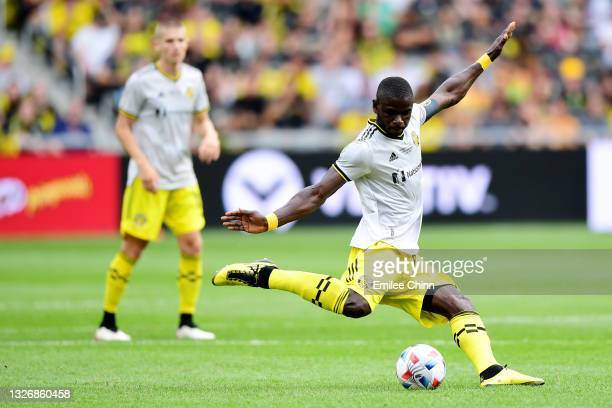 Jonathan Mensah of Columbus Crew clears the ball in the second half during their game against the New England Revolution at Lower.com Field on July...