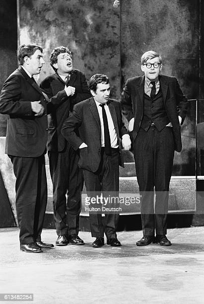 Jonathan Miller Peter Cook Dudley Moore and Alan Bennett in a sketch from their revue show Beyond the Fringe