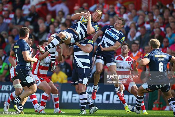 Jonathan Mills of Sale Sharks is upended catching a high ball during the Aviva Premiership match between Gloucester and Sale Sharks at Kingsholm...