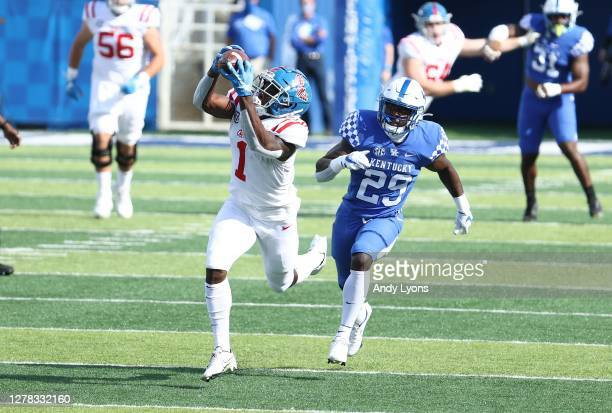 Jonathan Mingo of the Ole Miss Rebels catches a pass during the 42-41 OT win over the Kentucky Wildcats at Commonwealth Stadium on October 03, 2020...