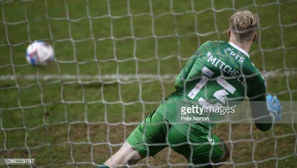 Jonathan Mitchell of Northampton Town in action during a penalty shoot out during the Papa John's Trophy match between Northampton Town and Stevenage...