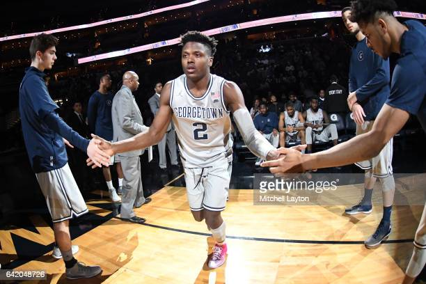 Jonathan Mulmore of the Georgetown Hoyas is introduced before a college basketball game against the Marquette Golden Eagles at the Verizon Center on...