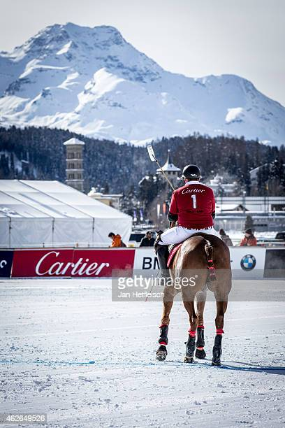 Jonathan Munro Ford rides on the pitch during the Snow Polo World Cup 2015 on February 1 2015 in St Moritz Switzerland