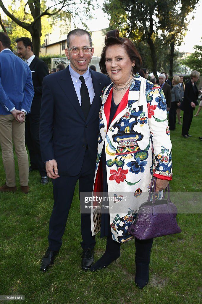 Jonathan Newhouse, Chairman & Chief Executive, Conde Nast International and Suzy Menkes, International Vogue Editor attend the Conde' Nast International Luxury Conference Welcome Reception at Four Seasons Hotel Firenze on April 21, 2015 in Florence, Italy.