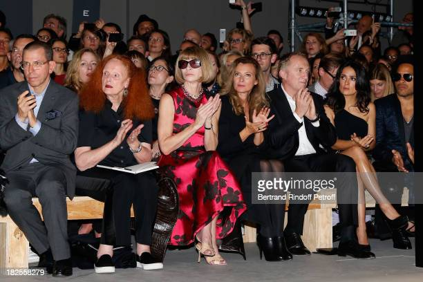 Jonathan Newhouse Grace CoddingtonAnna Wintour French First Lady Valerie Trierweiler FrancoisHenri Pinault and Salma Hayek attend Saint Laurent show...
