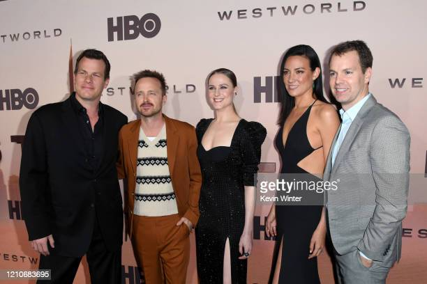 Jonathan Nolan Aaron Paul Evan Rachel Wood Lisa Joy and President HBO Programming Casey Bloys attend the Premiere of HBO's Westworld Season 3 at TCL...