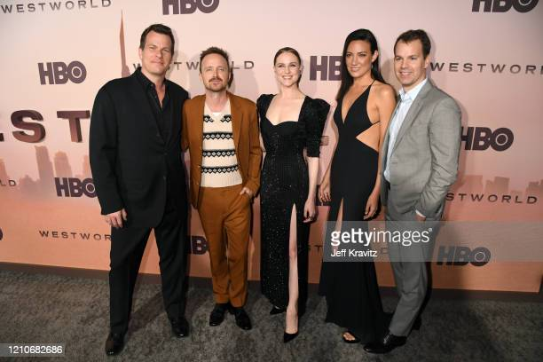 Jonathan Nolan Aaron Paul Evan Rachel Wood Lisa Joy and President of HBO Programming Casey Bloys attend the Los Angeles Season 3 premiere of the HBO...