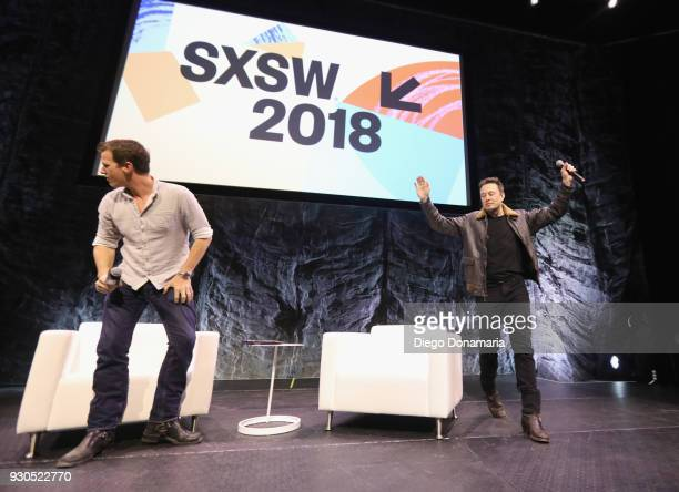 Jonathan Nolan and Elon Musk speak onstage at Elon Musk Answers Your Questions! during SXSW at ACL Live on March 11, 2018 in Austin, Texas.