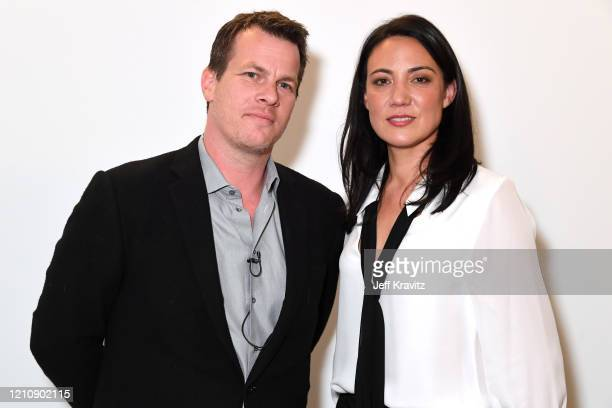 Jonathan Nolan and Lisa Joy attend the screening panel discussion of the HBO drama series Westworld at Wolf Theatre on March 06 2020 in North...