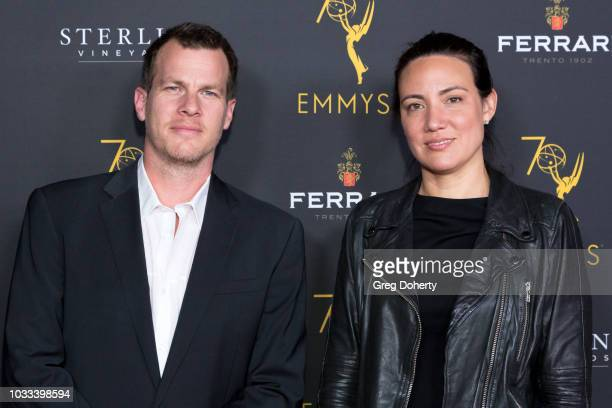 Jonathan Nolan and Lisa Joy attend the Television Academy Honors Emmy Nominated Producers Reception at Montage Beverly Hills on September 14 2018 in...