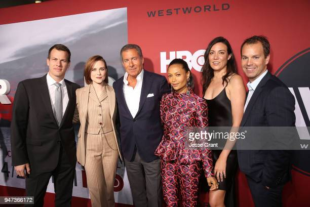 Jonathan Nolan Evan Rachel Wood Richard Plepler Thandie Newton Lisa Joy and Casey Bloys attend the Premiere of HBO's Westworld Season 2 at The...