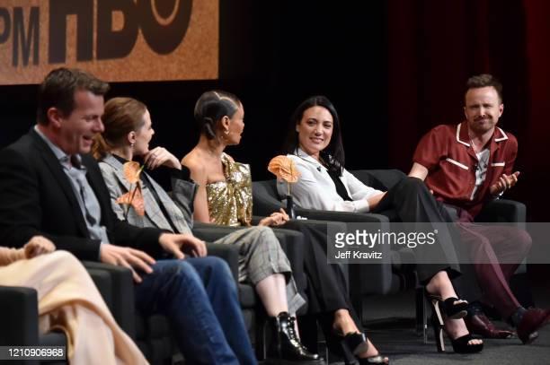 Jonathan Nolan, Evan Rachel Wood, Thandie Newton, Lisa Joy, and Aaron Paul speak onstage during the screening & panel discussion of the HBO drama...
