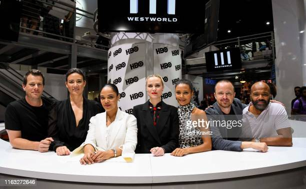 "Jonathan Nolan Lisa Joy Tess Thompson Evan Rachel Wood Thandie Newton Aaron Paul and Jeffrey Wright at ""Westworld"" Comic Con Autograph Signing 2019..."