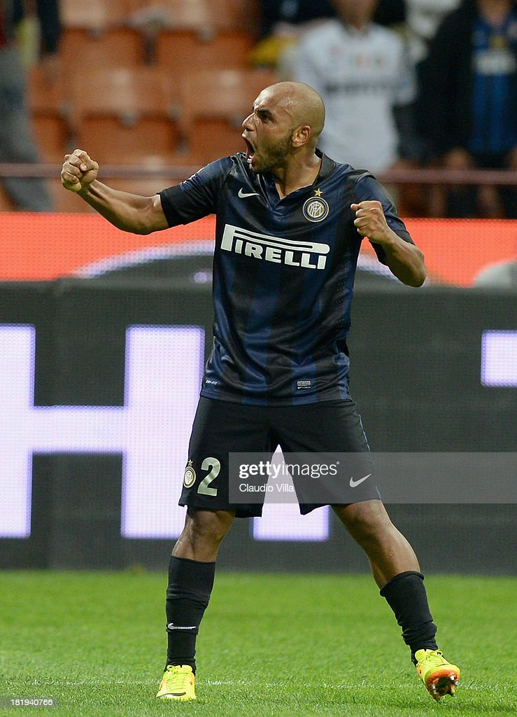 Jonathan of FC Inter celebrates scoring the second goal during the Serie A match between FC Internazionale Milano and ACF Fiorentina at Giuseppe Meazza Stadium on September 26, 2013 in Milan, Italy.