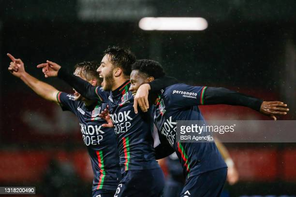 Jonathan Okita of NEC is celebrating his second goal with Souffian El Karouani of NEC during the Keukenkampioen Divisie Play-Offs Promotion match...