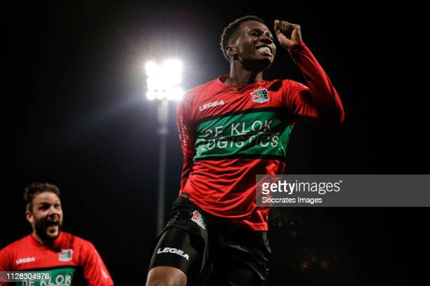 Jonathan Okita of NEC Nijmegen, celebrate his goal the 2-2 during the Dutch Keuken Kampioen Divisie match between FC Dordrecht v NEC Nijmegen at the...