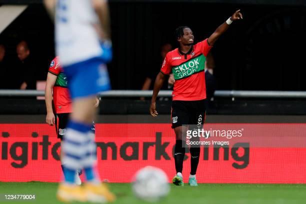 Jonathan Okita of NEC Nijmegen celebrates 2-0 during the Dutch Eredivisie match between NEC Nijmegen v PEC Zwolle at the Goffert Stadium on August...