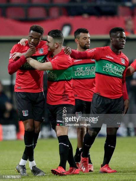 Jonathan Okita of NEC Nijmegen, Randy Wolters of NEC Nijmegen, Leroy Labylle of NEC Nijmegen, Terry Lartey Sanniez of NEC Nijmegen celebrate 1-0...