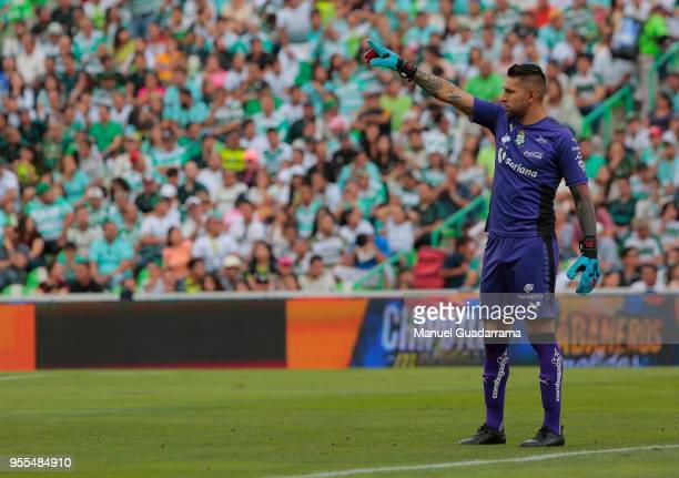 Jonathan Orozco celebrates of Santos during the quarter finals second leg match between Santos Laguna and Tigres UANL as part of the Torneo Clausura...