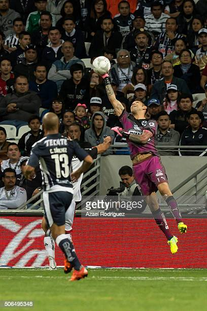 Jonathan Orozco goalkeeper of Monterrey blocks the ball during the 3rd round match between Monterrey and Atlas as part of the Clausura 2016 Liga MX...