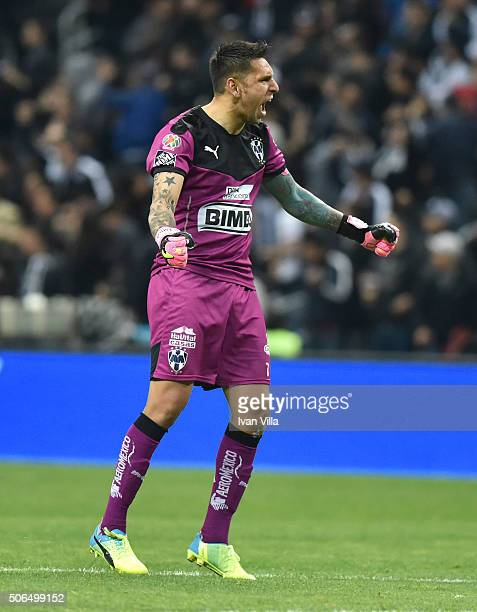 Jonathan Orozco goalkeeper of Monterrey celebrates the goal of his team during the 3rd round match between Monterrey and Atlas as part of the...