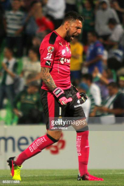 Jonathan Orozco goalkeeper of Santos celebrates after the first goal of his team during the quarterfinals match between Santos Laguna and Cruz Azul...