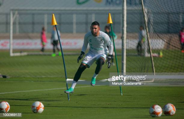 Jonathan Orozco makes drills during the Santos Laguna traning session at Corona Stadium on July 17 2018 in Torreon Mexico