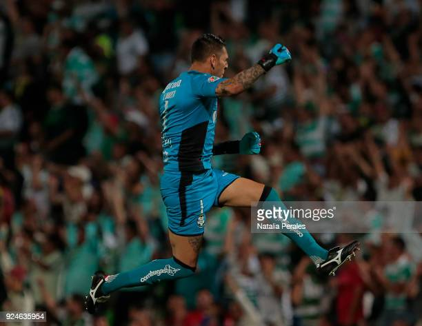 Jonathan Orozco of Santos celebrates the first goal of his team scored by his teammate Jesus Isijara during the 9th round match between Santos Laguna...