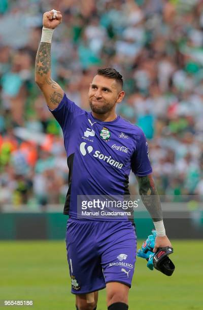 Jonathan Orozco of Santos greets fans during the quarter finals second leg match between Santos Laguna and Tigres UANL as part of the Torneo Clausura...