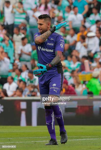 Jonathan Orozco of Santos looks on during the quarter finals second leg match between Santos Laguna and Tigres UANL as part of the Torneo Clausura...