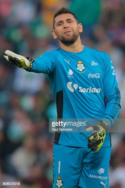 Jonathan Orozco of Santos reacts during the 3rd round match between Santos Laguna and Morelia as part of the Torneo Clausura 2018 Liga MX at Corona...