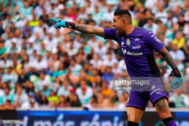 Jonathan Orozco of Santos shouts directions to his players during the quarter finals second leg match between Santos Laguna and Tigres UANL as part...