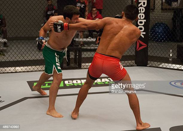 Jonathan Ortega punches Enrique Barzola during the filming of The Ultimate Fighter Latin America Team Gastelum vs Team Escudero on April 7 2015 in...