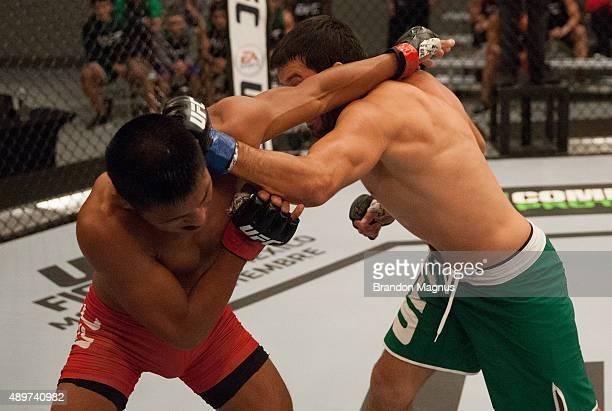 Jonathan Ortega punchesEnrique Barzola during the filming of The Ultimate Fighter Latin America Team Gastelum vs Team Escudero on April 7 2015 in Las...