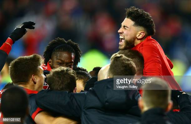 Jonathan Osorio of Toronto FC celebrates their second goal by Victor Vazquez with teammates during the second half of the 2017 MLS Cup Final against...