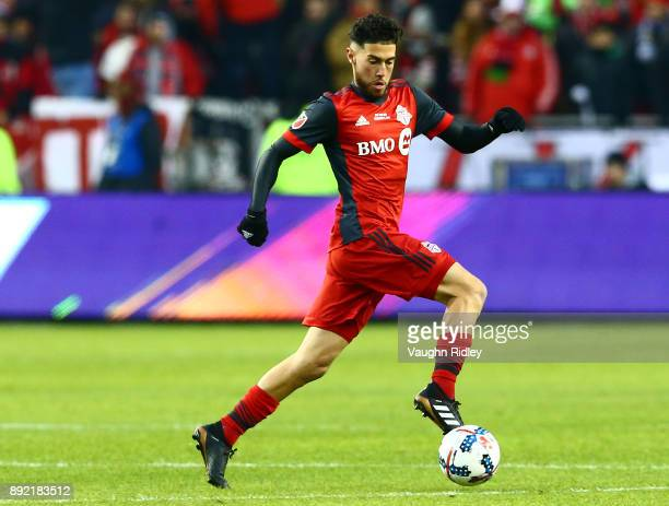 Jonathan Osorio of Toronto FC dribbles the ball during the 2017 MLS Cup Final against the Seattle Sounders at BMO Field on December 9 2017 in Toronto...