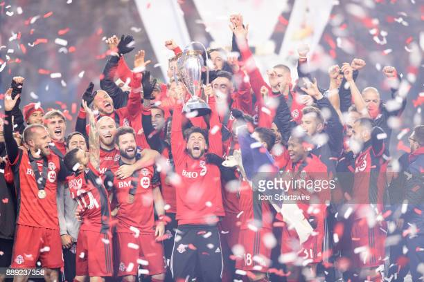 Jonathan Osorio of Toronto FC lifts the MLS Cup trophy after the 2017 MLS Cup Final between Toronto FC and Seattle Sounders FC on December 9 at BMO...