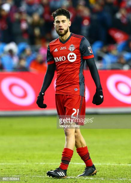 Jonathan Osorio of Toronto FC looks on during the 2017 MLS Cup Final against the Seattle Sounders at BMO Field on December 9 2017 in Toronto Ontario...