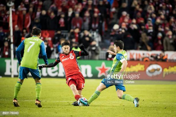 Jonathan Osorio of Toronto FC tries to take control of the ball against Nicolas Lodeiro of Seattle Sounders during the 2017 Audi MLS Championship Cup...
