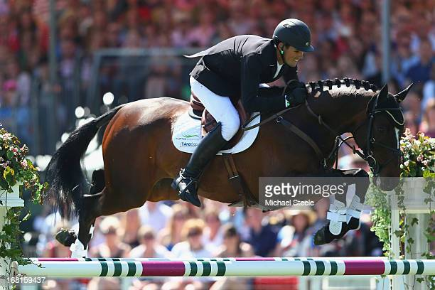 Jonathan Paget of New Zealand riding Clifton Promise on his way to overall victory during the showjumping test at Badminton horse trials on May 6...