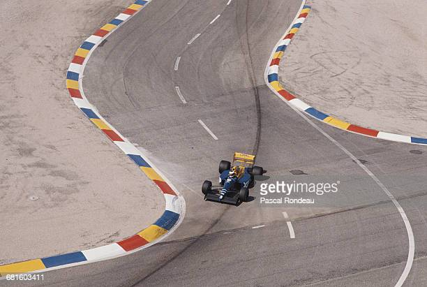 Jonathan Palmer of Great Britain drives the Tyrrell Racing Organisation Tyrrell 018 Ford Cosworth DFR V8 during the RhonePoulenc French Grand Prix on...
