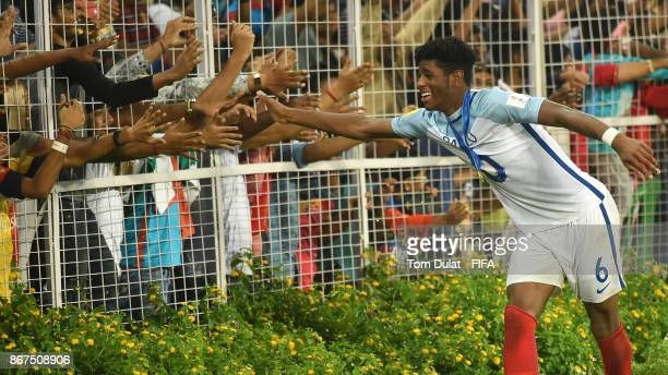 Jonathan Panzo of England celebrates with the fans after the FIFA U17 World Cup India 2017 Final match between England and Spain at Vivekananda Yuba...