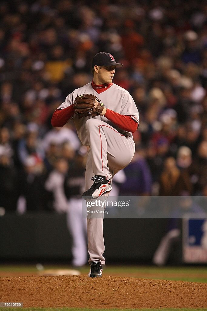 Jonathan Papelbon of the Boston Red Sox bats during Game Three of the World Series against the Colorado Rockies at Coors Field in Denver, Colorado on October 27, 2007. The Red Sox defeated the Rockies 10-5.